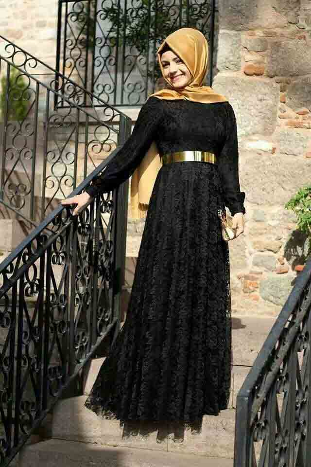 Black net frock style formal party wear abaya with hijab styles
