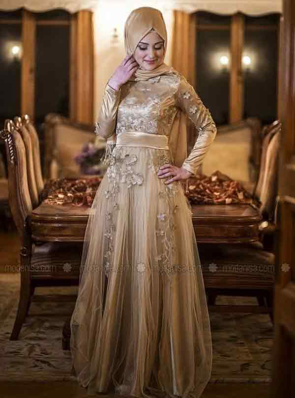 Golden net formal party wear abaya with hijab styles for girls