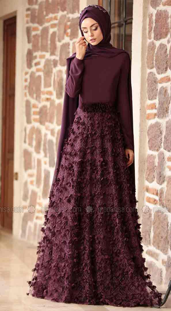 Purple lace formal party wear abaya with hijab styles for girls