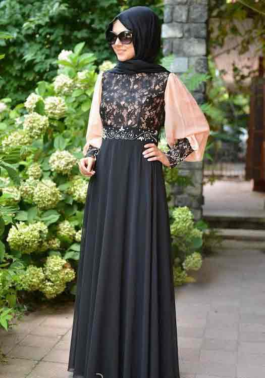 Black net lace formal party wear abaya with hijab styles for girls