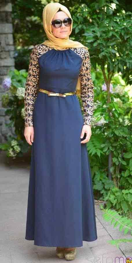 Blue net lace formal party wear abaya with hijab styles for girls