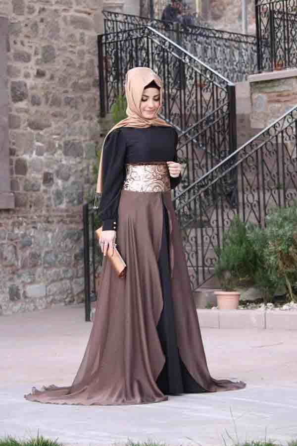Brown and black frock style formal party wear abaya with hijab styles