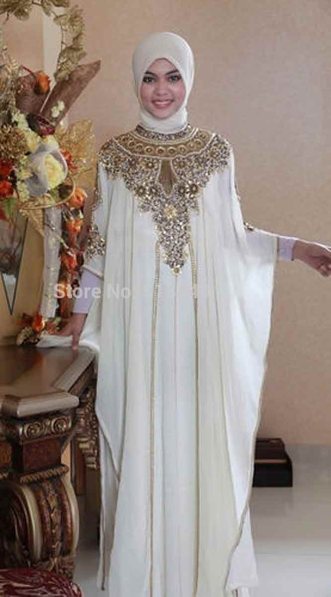 White formal party wear abaya with hijab styles for girls