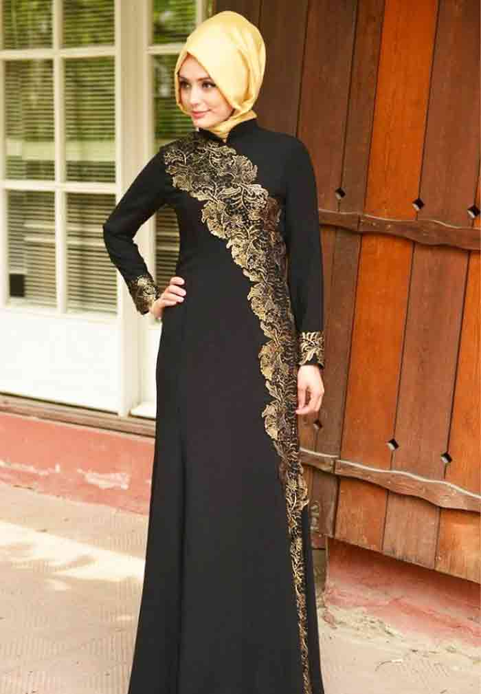 Golden and black formal party wear abaya with hijab styles for girls