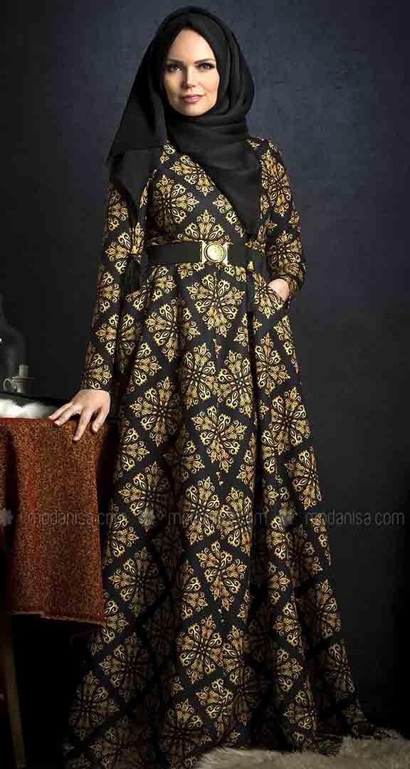 Golden and black frock style formal party wear abaya with hijab styles