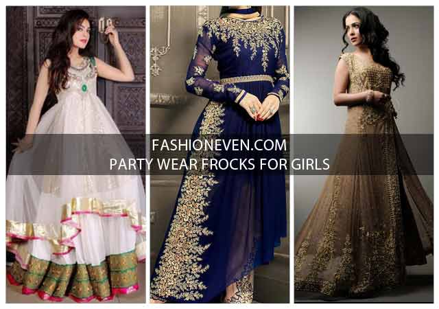 New style blue white and golden party wear frock designs for girls in Pakistan