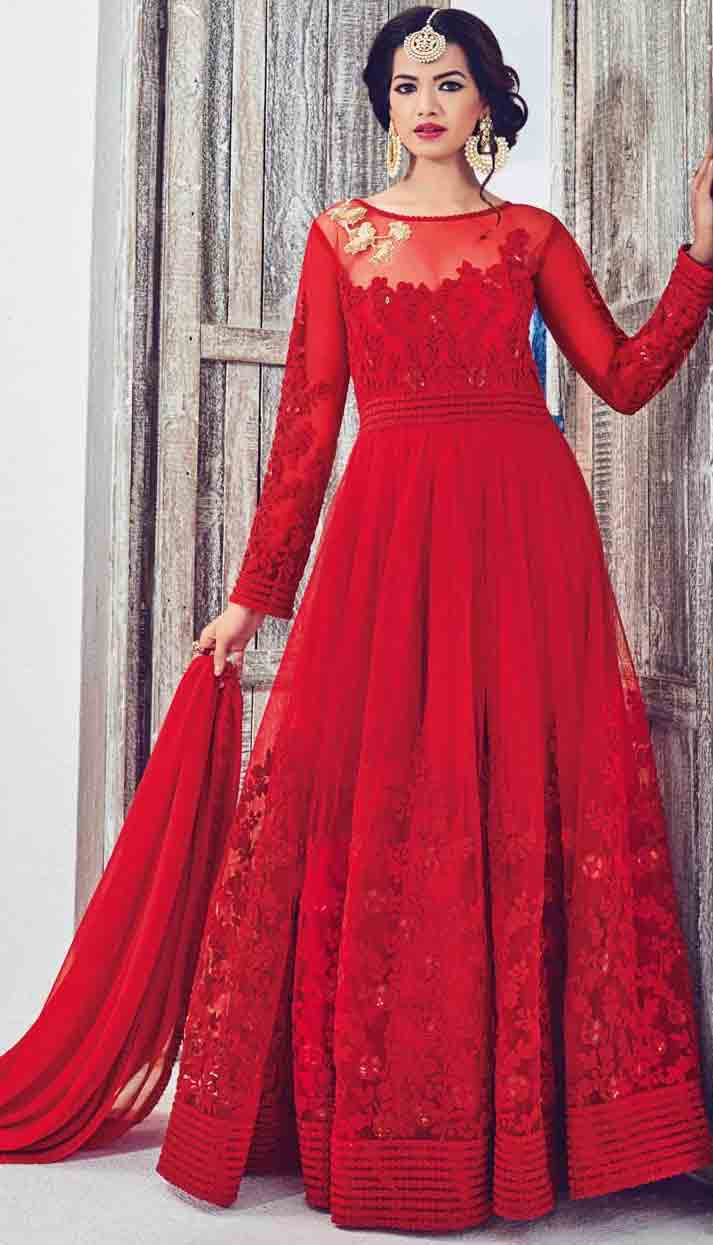 Red party wear long frock designs for Pakistani girls