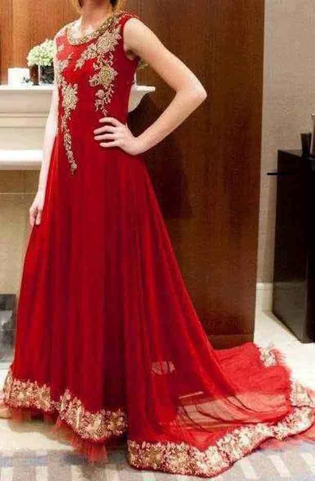 Red party wear frock designs for girls in Pakistan