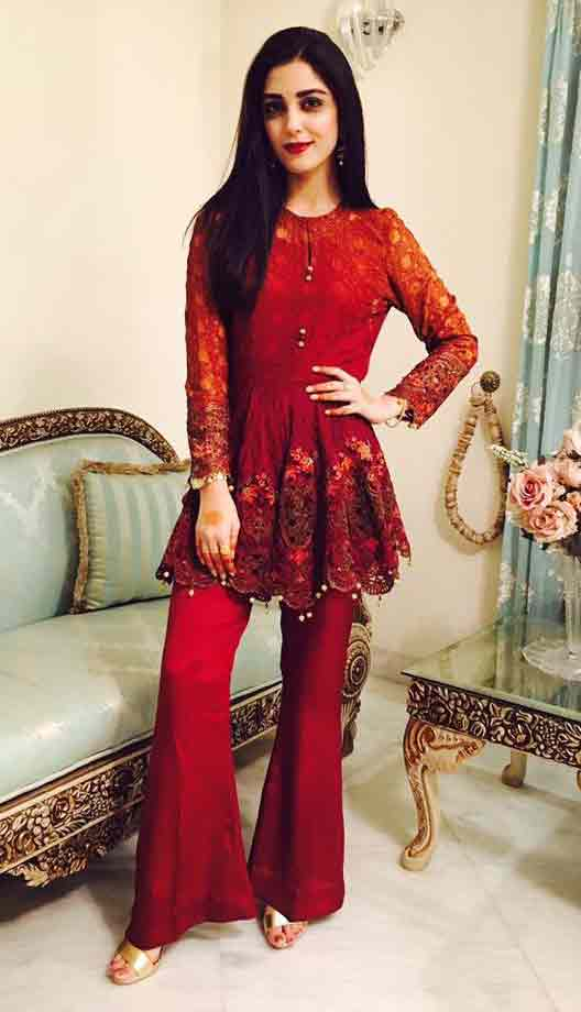Red party wear short frock designs for Pakistani girls