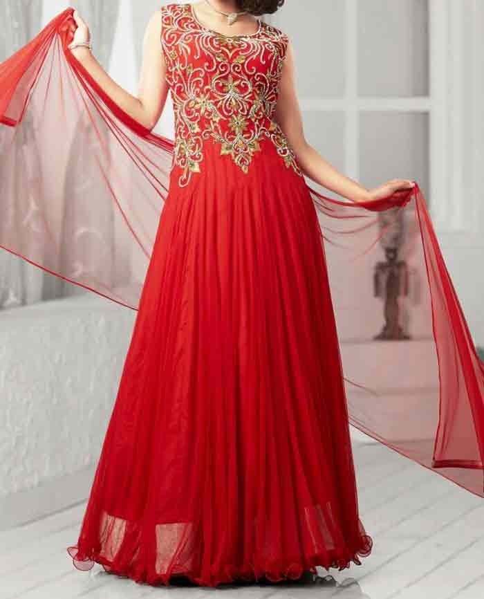 Red party wear long frock designs for girls in Pakistan