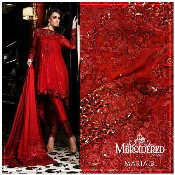 Red knee length party wear frock designs for girls in Pakistan