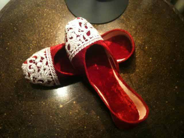 Red party wear fancy khussa shoes designs for girls