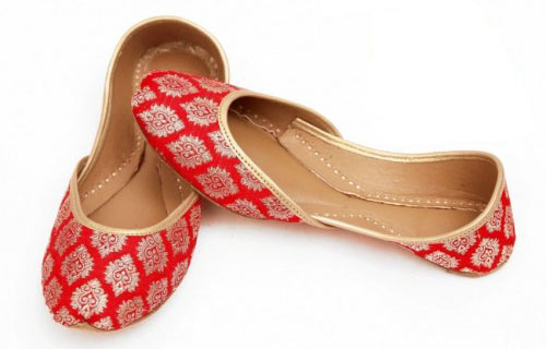 Red fancy khussa shoes designs for girls