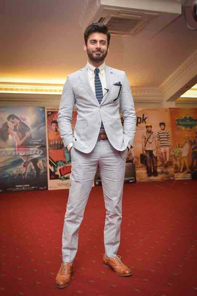 Fawad Khan in white shirt and blue tie combinations with light blue suits in Pakistan
