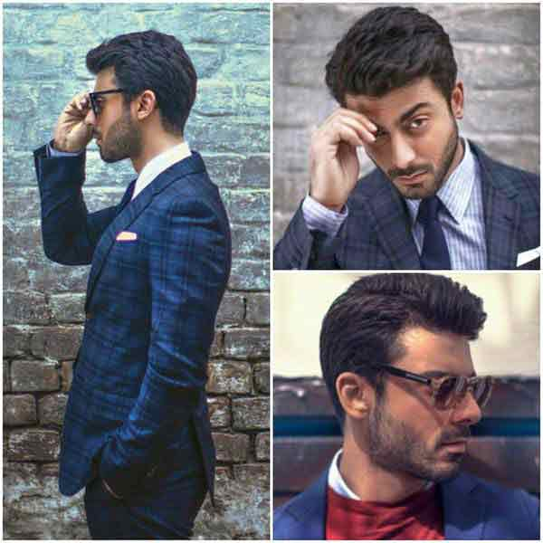 Fawad khan in white shirt and blue tie combinations with navy blue suits in Pakistan