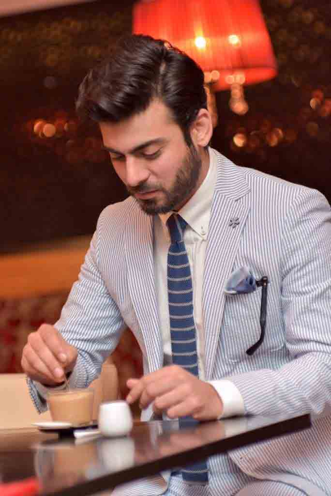 Fawad khan white shirt and blue tie combinations with light blue suits