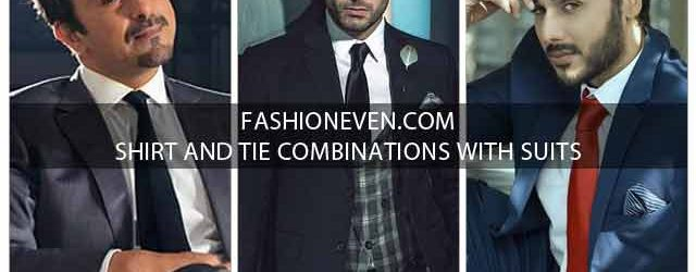 Shirt and tie combinations with black grey navy blue and brown color suits in Pakistan