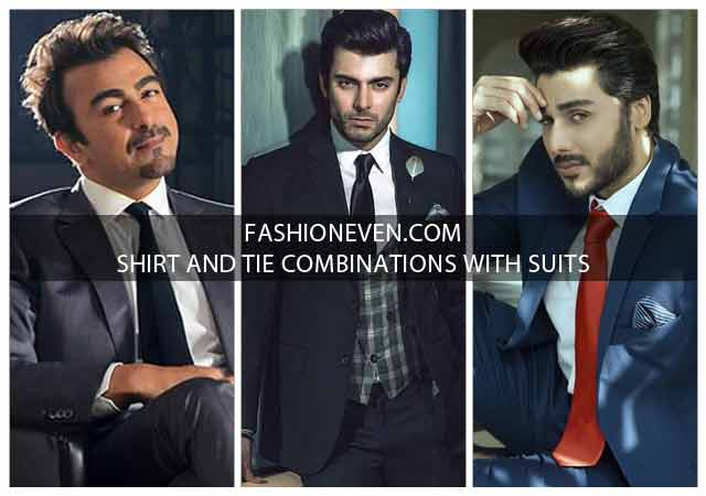 Shirt and tie combinations with black grey navy blue and brown color suits