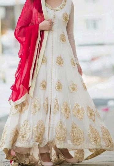 White party wear long frock designs with dupatta for girls