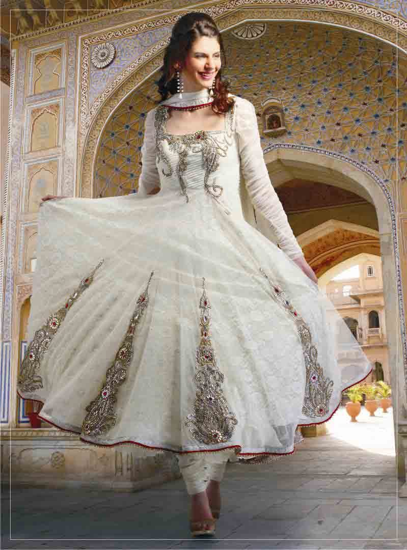 Latest white party wear long net frock designs for girls
