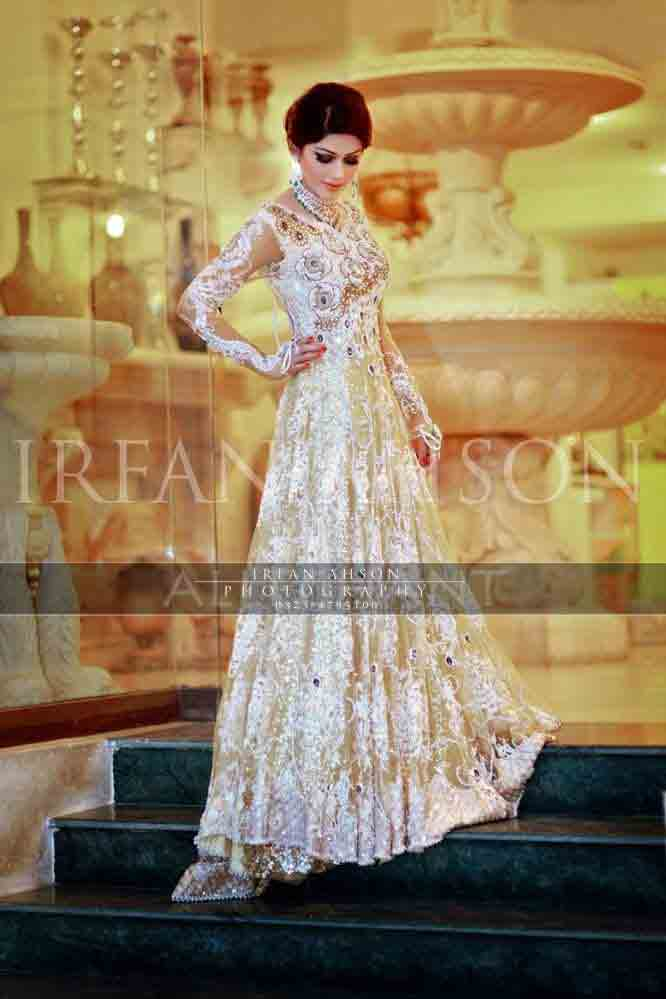 White party wear long frock designs for girls in Pakistan
