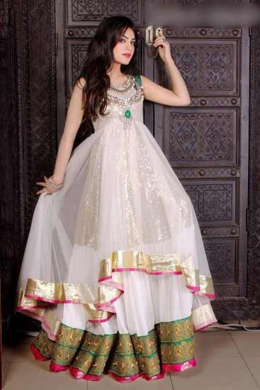White party wear frock designs for Pakistani girls