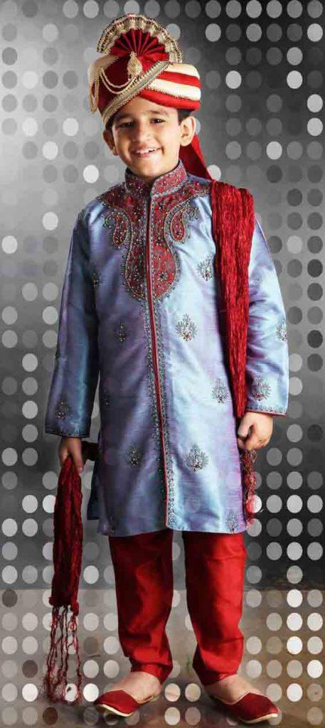 Blue And Red Sherwani Fashioneven