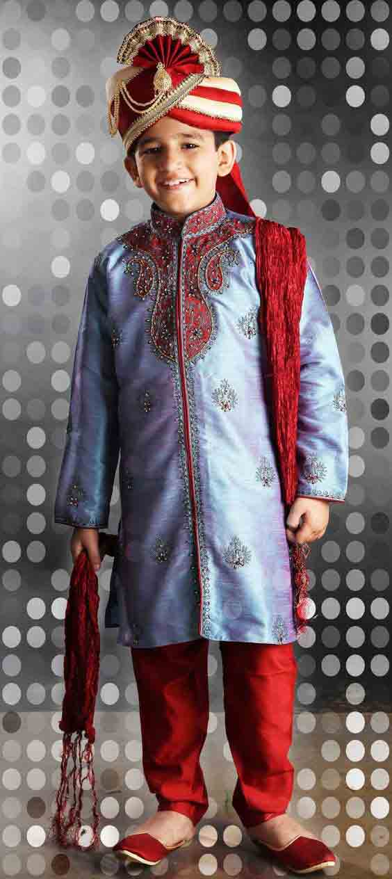 Blue sherwani with red pajama and pagri for kids