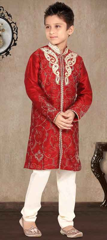 Red and white sherwani for kids