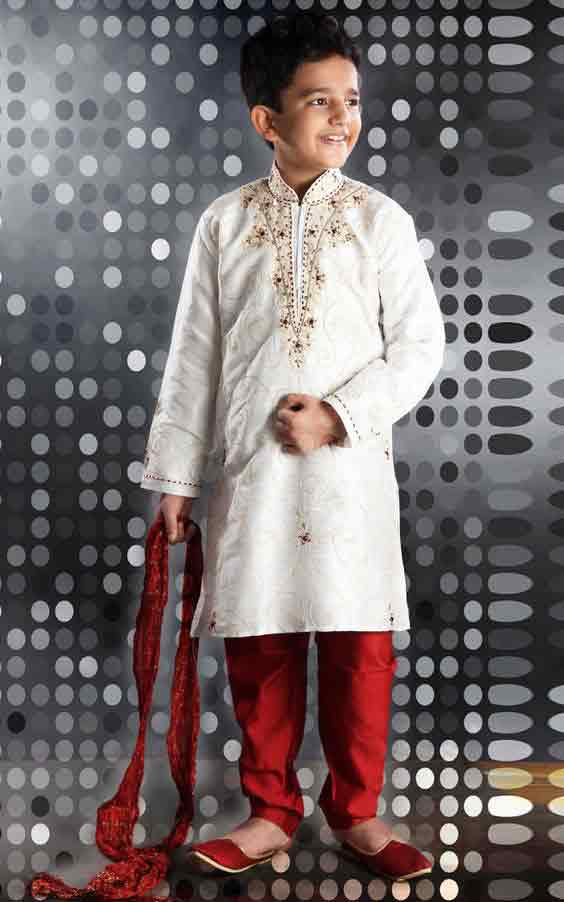 White and red sherwani designs for kids