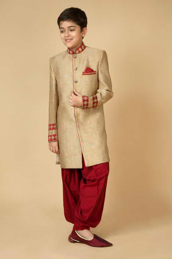 Latest skin sherwani with red shlawar for kids