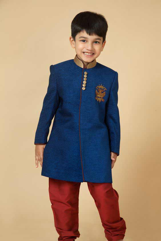 Latest blue sherwani with red pajama for little boys