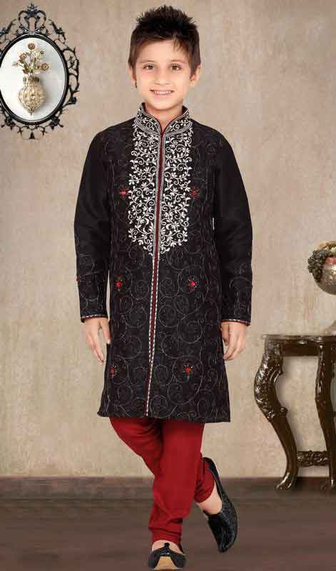 Black sherwani with red pajama for kids