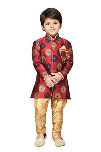 Kids maroon sherwani with golden churidar pajama for wedding