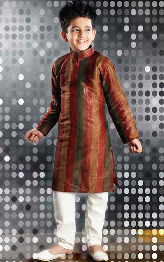 Kids brown sherwani with white pajama for weddings