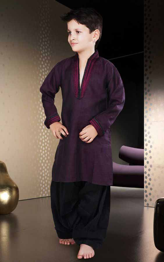 Latest magenta sherwani with black shalwar for kids