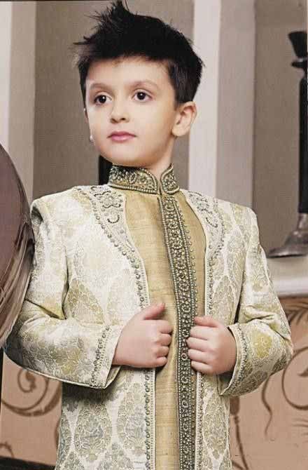 Latest embroidered Off white sherwani designs for little boys