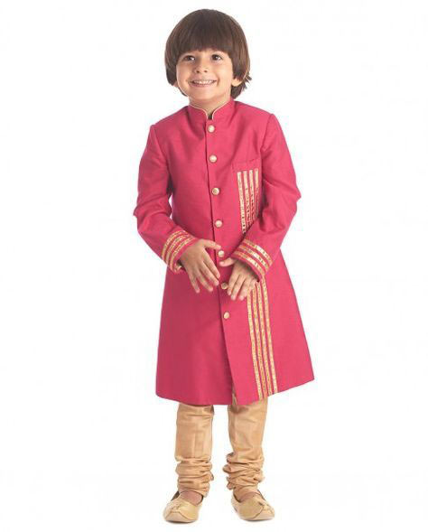 Latest pink sherwani with skin pajama for little boys