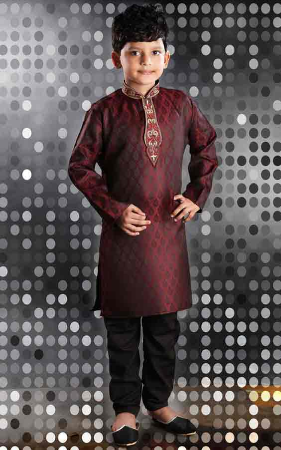 Latest maroon sherwani with black pajama for kids