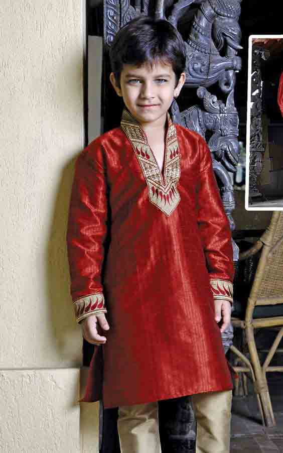 Red sherwani with golden pajama for kids