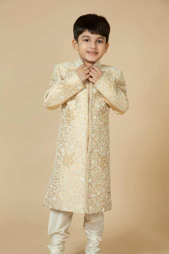 Kids off white long sherwani with pajama for wedding