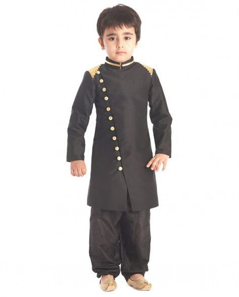 Black buttoned sherwani with matching salwar for kids