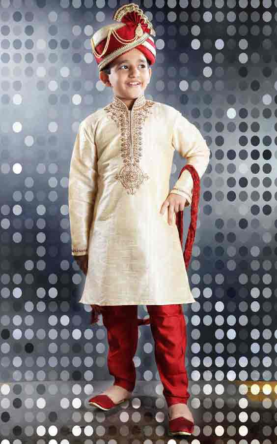 Best off white sherwani with red pajama and pagri for kids