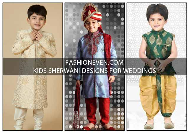 Latest off white, green and blue kids sherwani designs for wedding