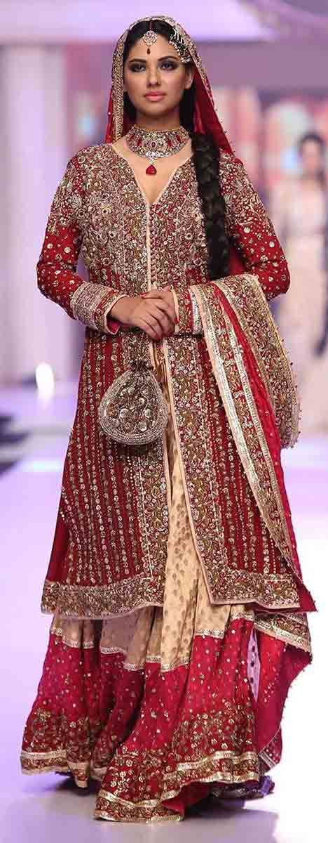 1553f63a969 Front open gown style Pakistani bridal dress in red and golden color  combinations 2018 with dupatta