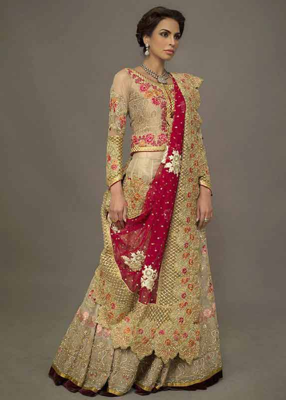 Heavily embroidered lehenga choli style Pakistani bridal dress in red and golden color combinations 2018