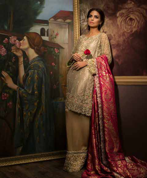 Stylish Pakistani bridal dress in red and golden color combinations 2018