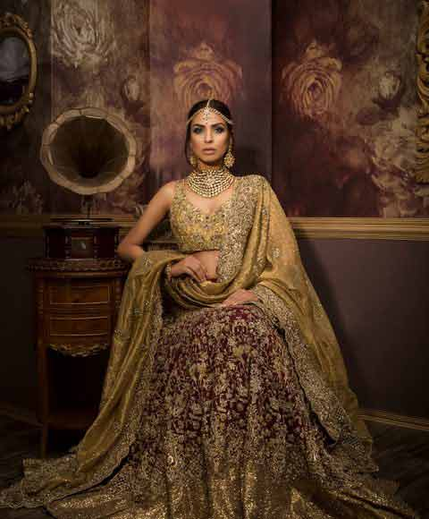 Best design of Pakistani bridal dress in red and golden color combinations 2018