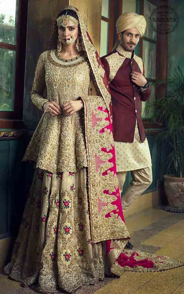 New design of short frock with lehenga style Pakistani bridal dress in red and golden color combinations 2018