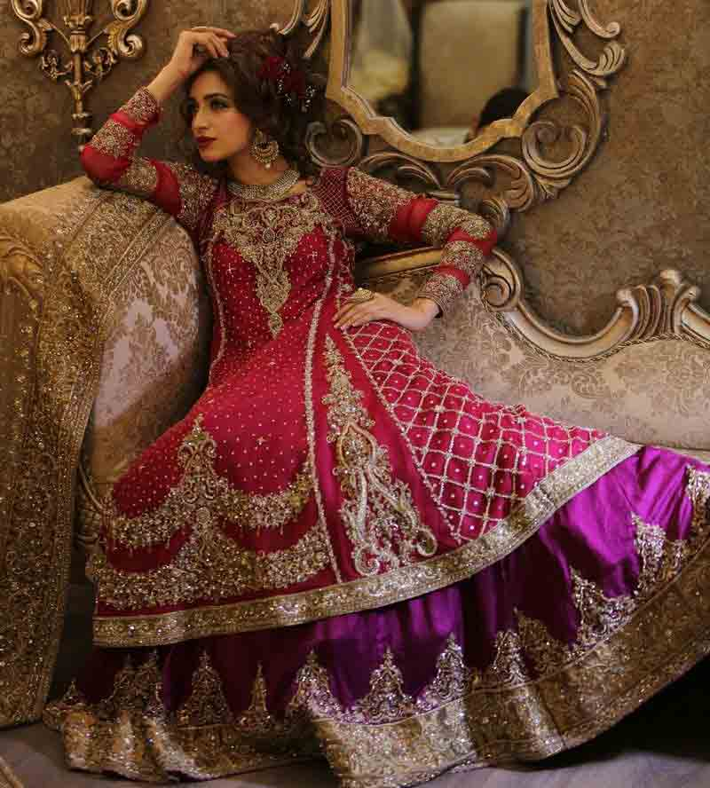 Stylish umbrella frock style Pakistani bridal dress in red and golden color combinations 2018
